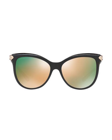 Serpenti Mirrored Iridescent Square Sunglasses, Black