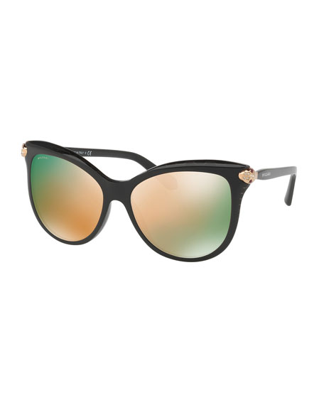 BVLGARI Serpenti Mirrored Iridescent Square Sunglasses, Black