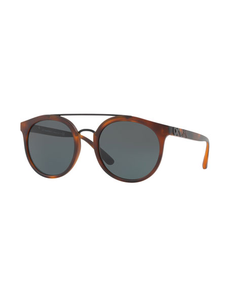 Burberry Round Embossed Double-Bridge Sunglasses, Brown Havana