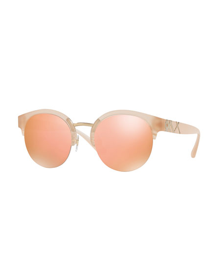 Round Mirrored Semi-Rimless Sunglasses