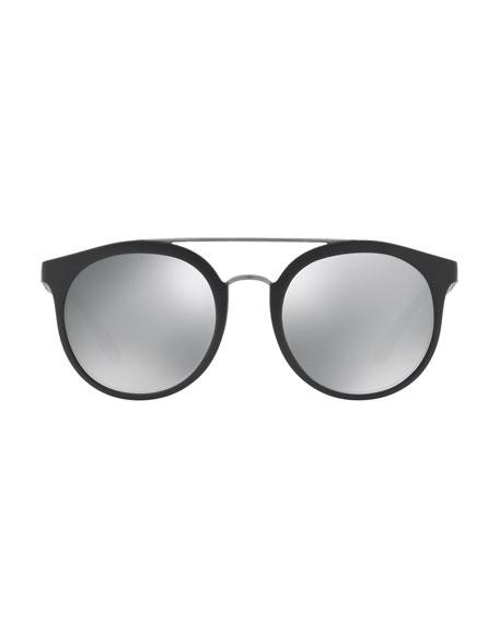 Mirrored Polarized Round Sunglasses, Black