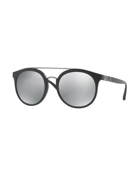 Burberry Mirrored Polarized Round Sunglasses, Black