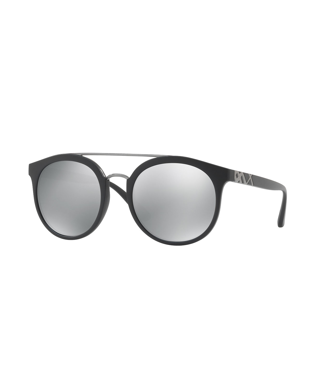 cb5ee9660b Burberry Mirrored Polarized Round Sunglasses