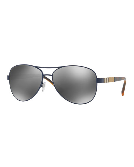 burberry outlet england aour  Burberry Mirrored Steel Aviator Sunglasses