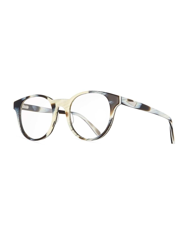 Prism Paris Round Optical Frames, Black/White Horn | Neiman Marcus