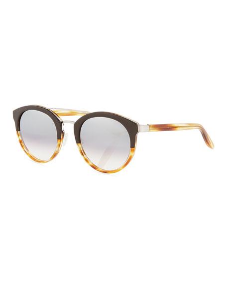 Barton Perreira Dalziel Round Universal-Fit Sunglasses, Brow/Havana