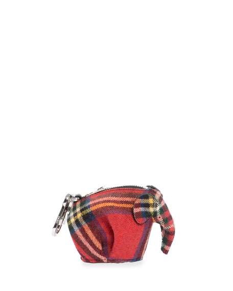 Loewe Plaid Elephant Bag Charm/Coin Purse, Red