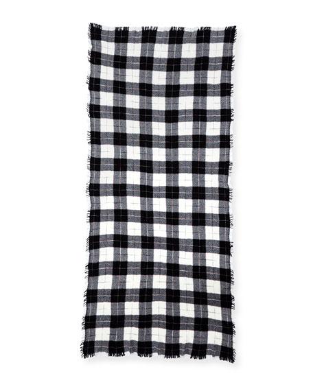 Loria Plaid Wool-Silk Scarf