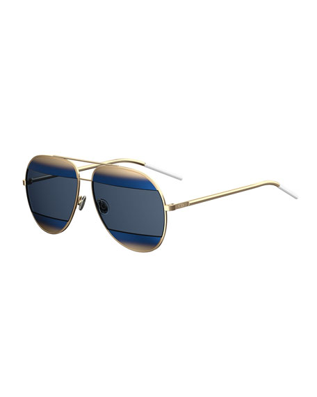 Dior DiorSplit Two-Tone Aviator Sunglasses, Blue