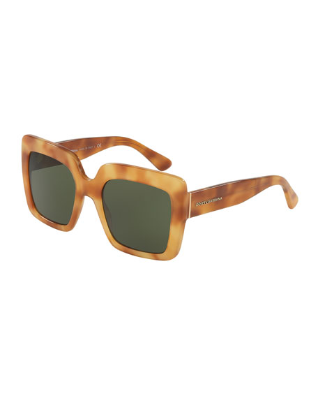 Chunky Square Monochromatic Sunglasses, Brown Havana