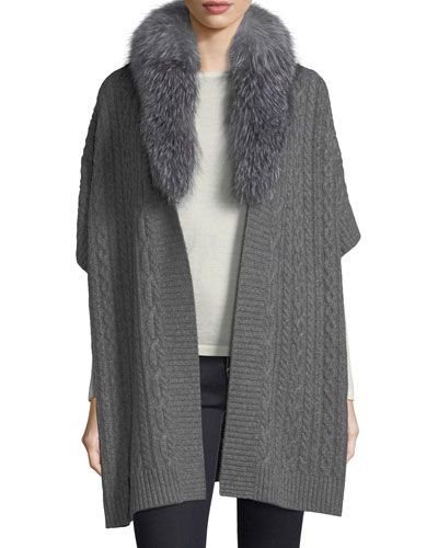 Cable-Knit Cashmere Cape w/ Fox Fur Collar