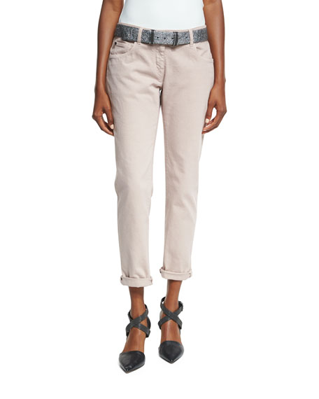 Brunello Cucinelli Relaxed-Fit Drawstring Jeans with Metallic
