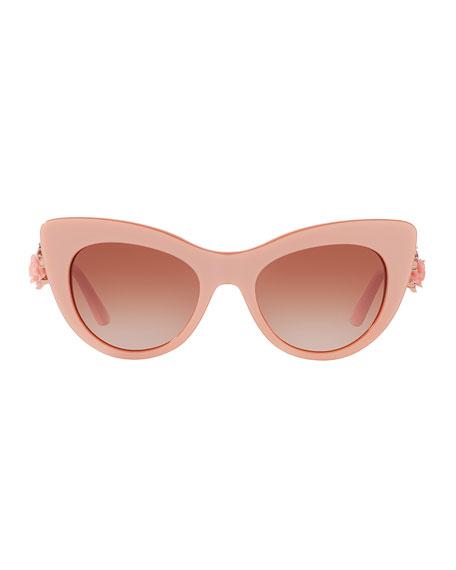 Flowers Lace Gradient Cat-Eye Sunglasses