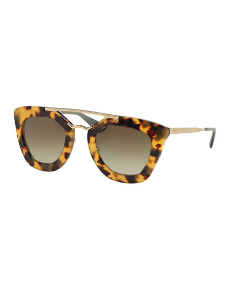 Prada Yellow Sunglasses  prada square brow bar sunglasses