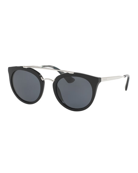 Prada Monochromatic Double-Bridge Cat-Eye Sunglasses, Black