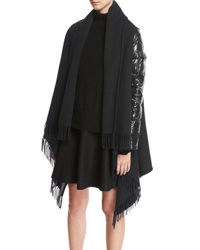 Combo Fringe Cape W/ Puffer Sleeves