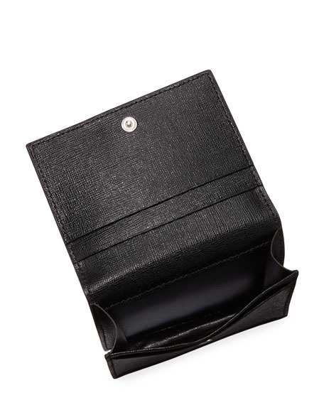 Flap Eyes Saffiano Card Holder, Black