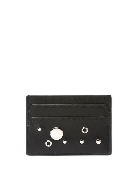 Studded Skull Leather Card Case, Black