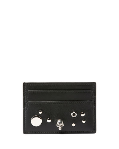 Studded Skull Leather Card Case, Black