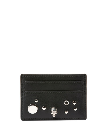 Alexander McQueen Studded Skull Leather Card Case, Black
