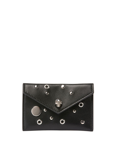 Studded Skull Leather Envelope Card Case, Black