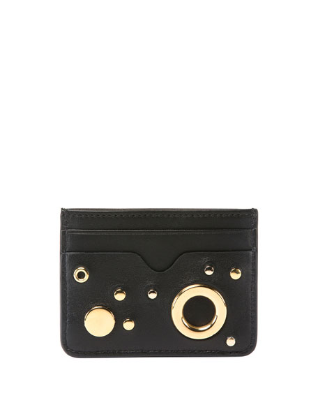 Golden Stud Zip Card Case