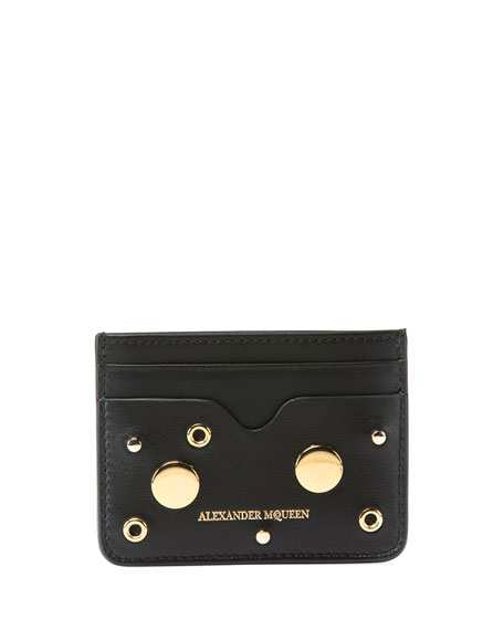 Alexander McQueen Golden Stud Zip Card Case