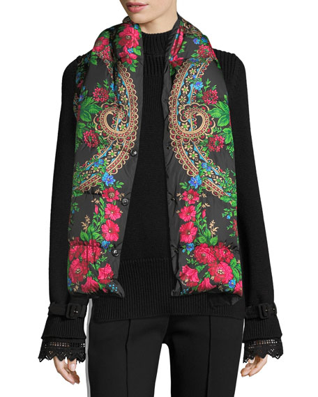 Floral-Print Puffer Scarf