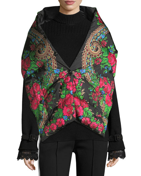 Moncler Floral-Print Puffer Scarf