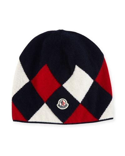 Berretto Argyle Beanie Hat, Navy