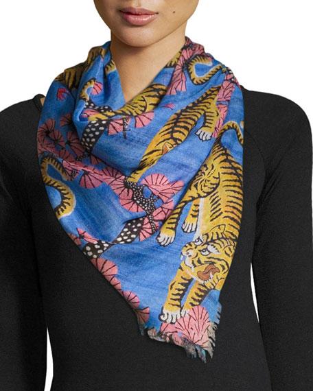 Gucci Flora Tiger Silk Scarf, Blue/Pink