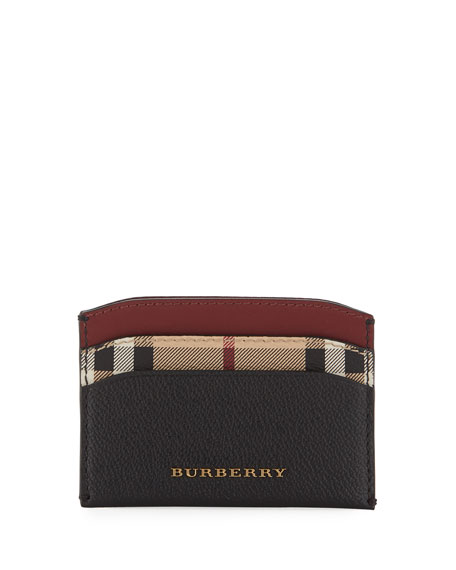 Burberry Izzy Haymarket Check Card Case, Black Pattern
