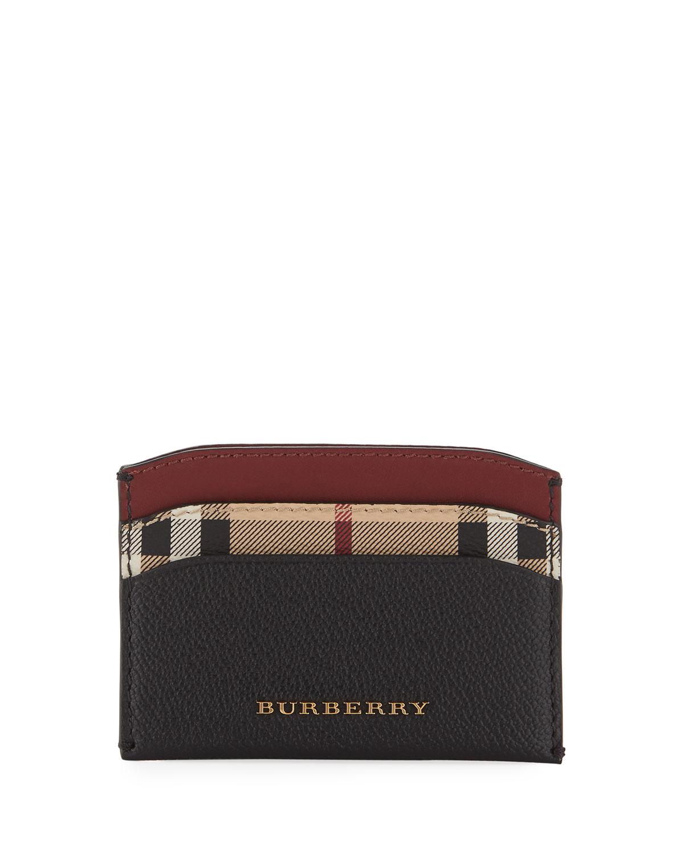 Burberry Izzy Haymarket Check Card Case, Black Pattern   Neiman Marcus