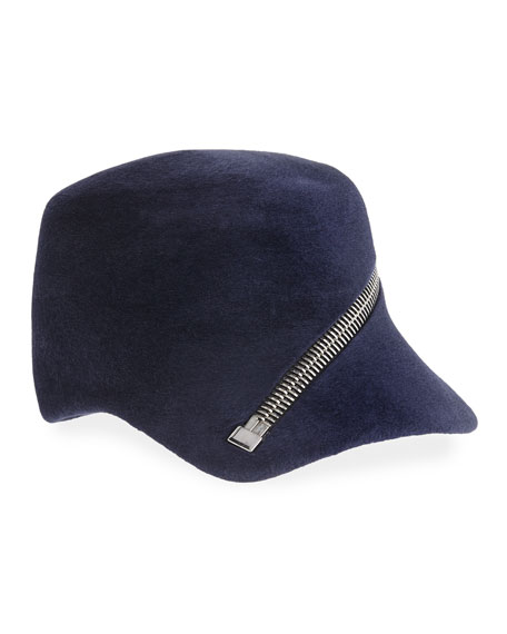 Philip Treacy Velour Baseball Cap w/ Oversized Zip