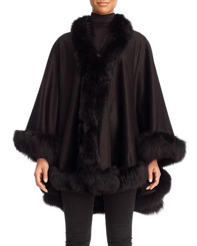 Cashmere Cape with Fox Fur Trim, Black