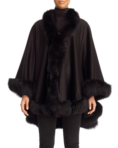 Cashmere Cape with Fox Fur Trim, Black