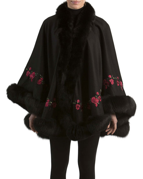 Gorski Floral-Embroidered Cashmere Cape with Fox Fur Trim,