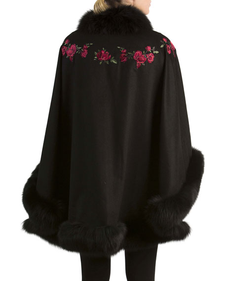 Floral-Embroidered Cashmere Cape with Fox Fur Trim, Black
