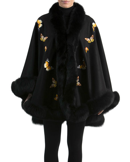 Butterfly-Embroidered Cashmere Cape with Fox Fur Trim, Black