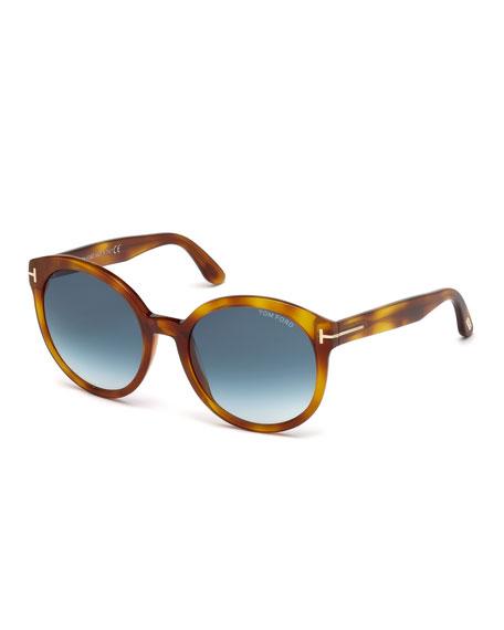 TOM FORD Philippa Round Cat-Eye Sunglasses, Blonde Havana