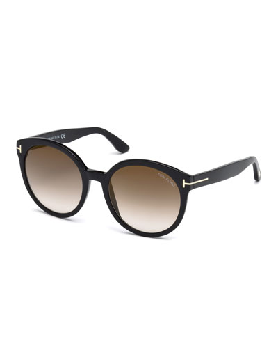 Philippa Round Cat-Eye Sunglasses, Black