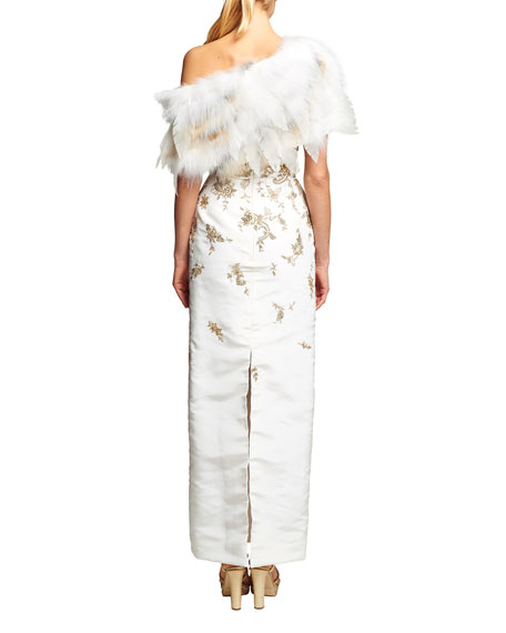 Fox Fur Stole with Chiffon Leaves, Arctic Marble