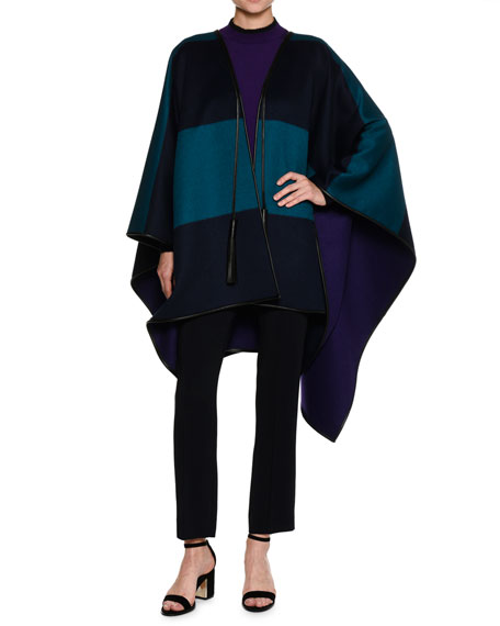 Piazza Sempione Reversible Wool Melton Cape with Leather