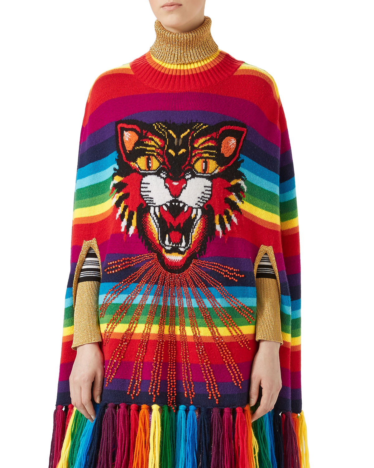 971ff208ef3c Gucci Angry Cat Intarsia Striped Knit Cape | Neiman Marcus