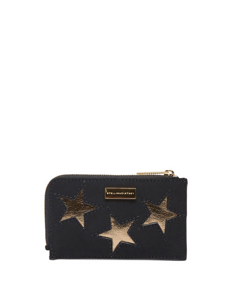 Stella McCartney Gold Star Zip Card Holder, Black/Gold
