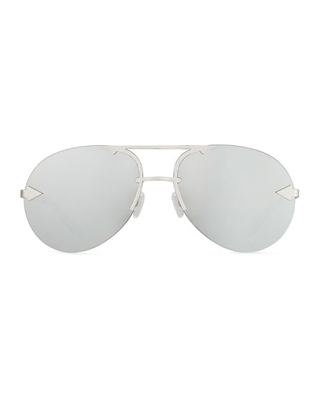 Love Hangover Semi-Rimless Aviator Sunglasses, Gray