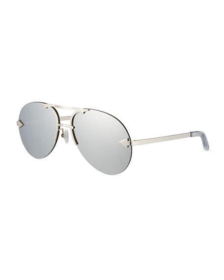Karen Walker Love Hangover Semi-Rimless Aviator Sunglasses, Gray