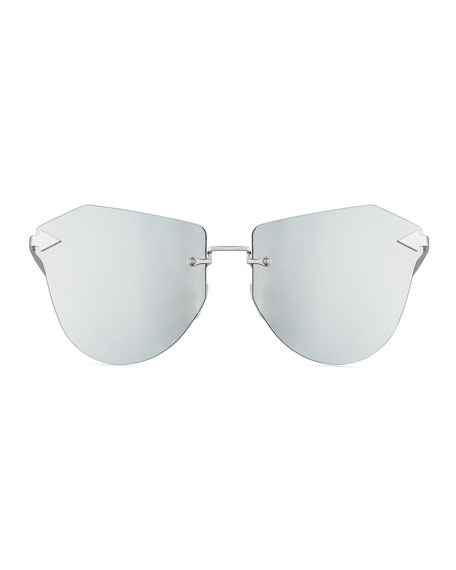 Dancer Rimless Cat-Eye Sunglasses, Silver