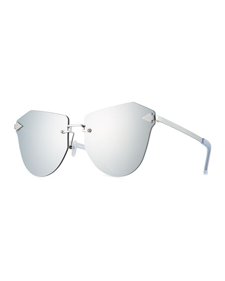 Karen Walker Dancer Rimless Cat-Eye Sunglasses, Silver