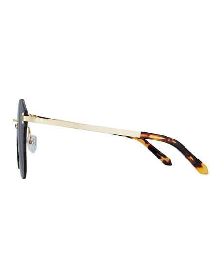 Dancer Rimless Cat-Eye Sunglasses, Brown Pattern